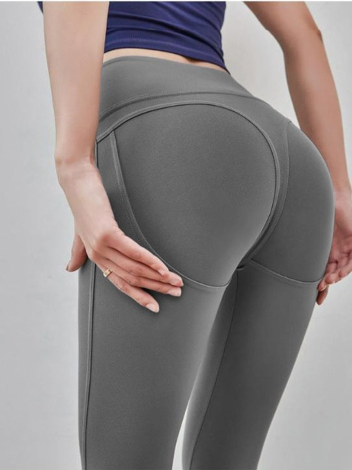 Anti-Sweat Solid Full Length Women's Yoga Sports Pants High Waisted Tiktok Leggings