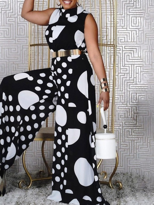 Polka Dots Vintage Full Length Print Loose Women's Jumpsuit