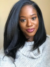 African American Women's Natural Looking Straight Human Hair Capless 120% 16 Inches Wigs