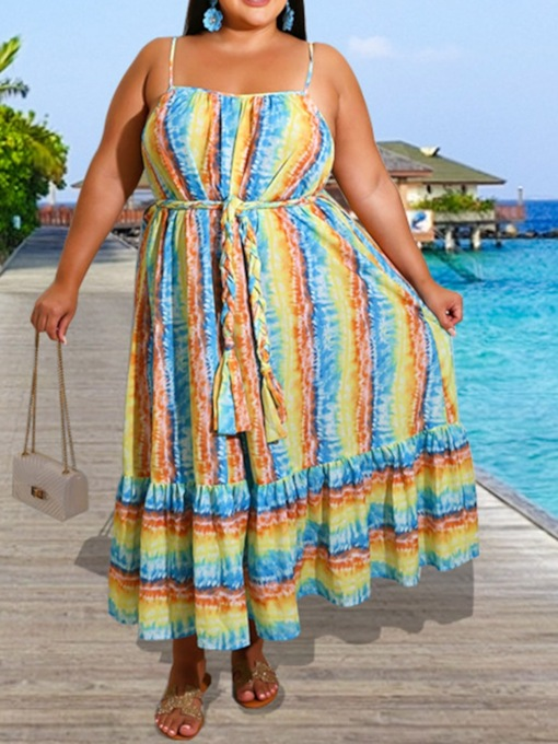 Plus Size Sleeveless Square Neck Ankle-Length Lace-Up Summer Women's Dress