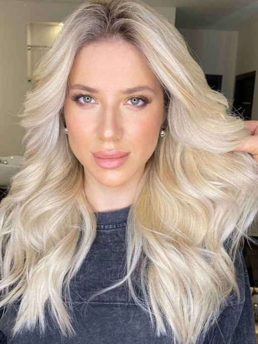 Natural Looking Women's Blonde Color Long Wavy Human Hair Lace Front Cap 24 Inches 120% Wigs