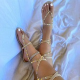 Plus Size Flat With Thong Lace-Up Banquet Sandals