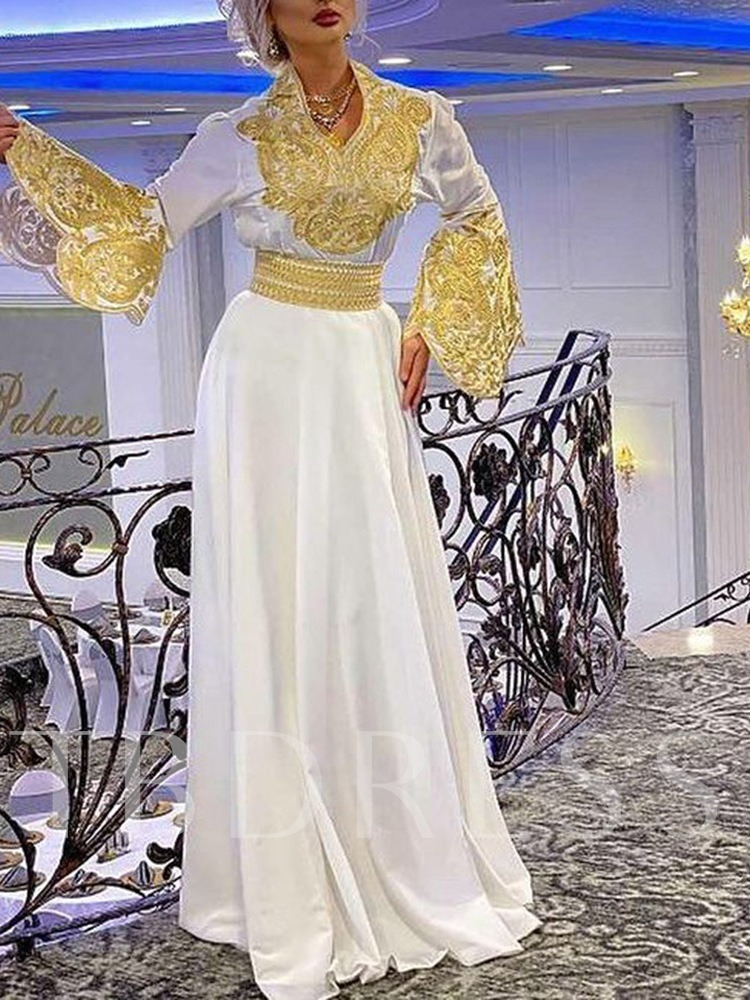 Embroidery V-Neck Floor-Length Long Sleeve Party/Cocktail Women's Dress