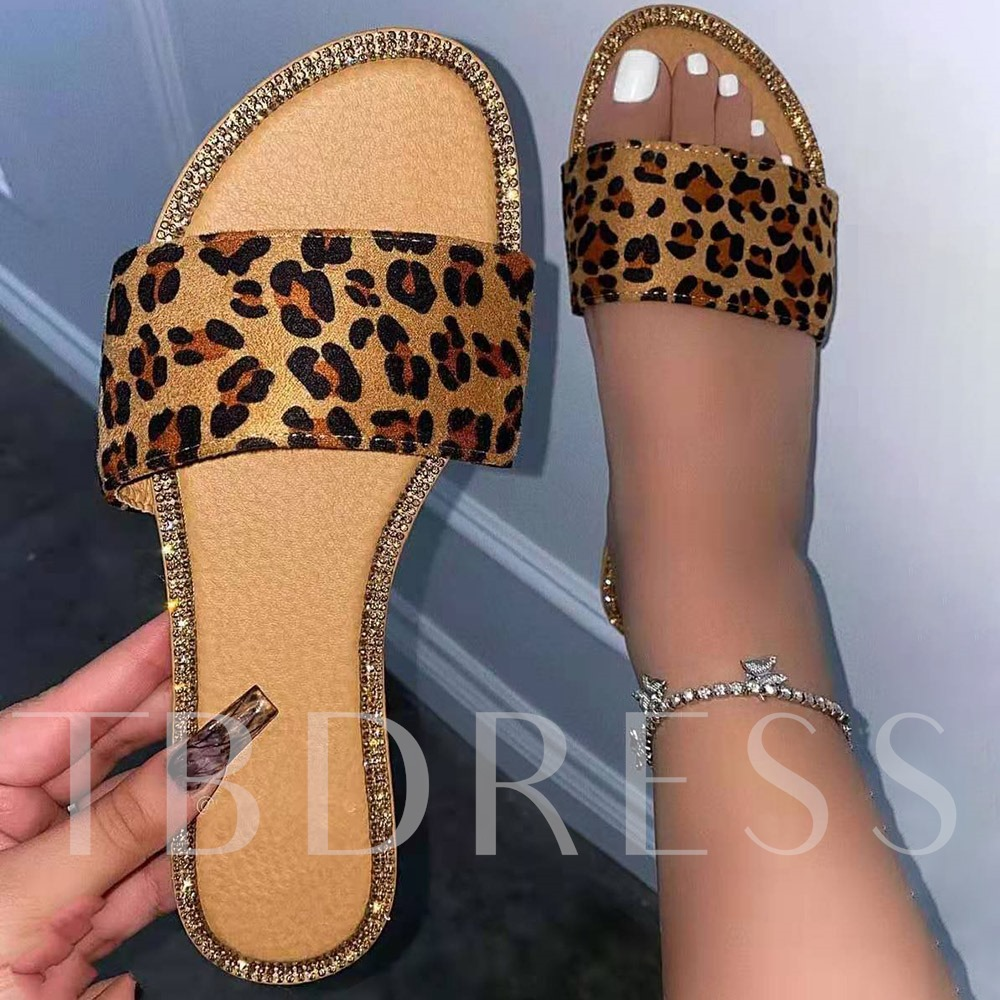 Plus Size Flat With Slip-On Serpentine Toe Ring Casual Slippers