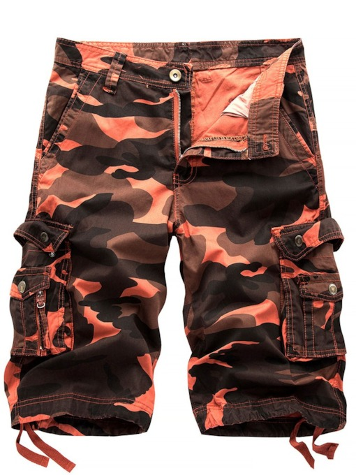 Camouflage Print Cargo Cargo Shorts Straight Summer Men's Casual Pants