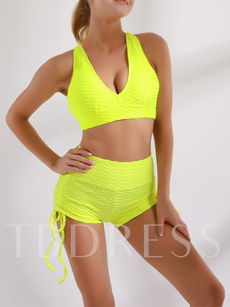Solid Quick Dry Polyester Pullover Yoga Sleeveless Clothing Sets Tiktiok