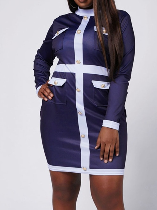 Plus Size Long Sleeve Button Above Knee Stand Collar Color Block Women's Dress