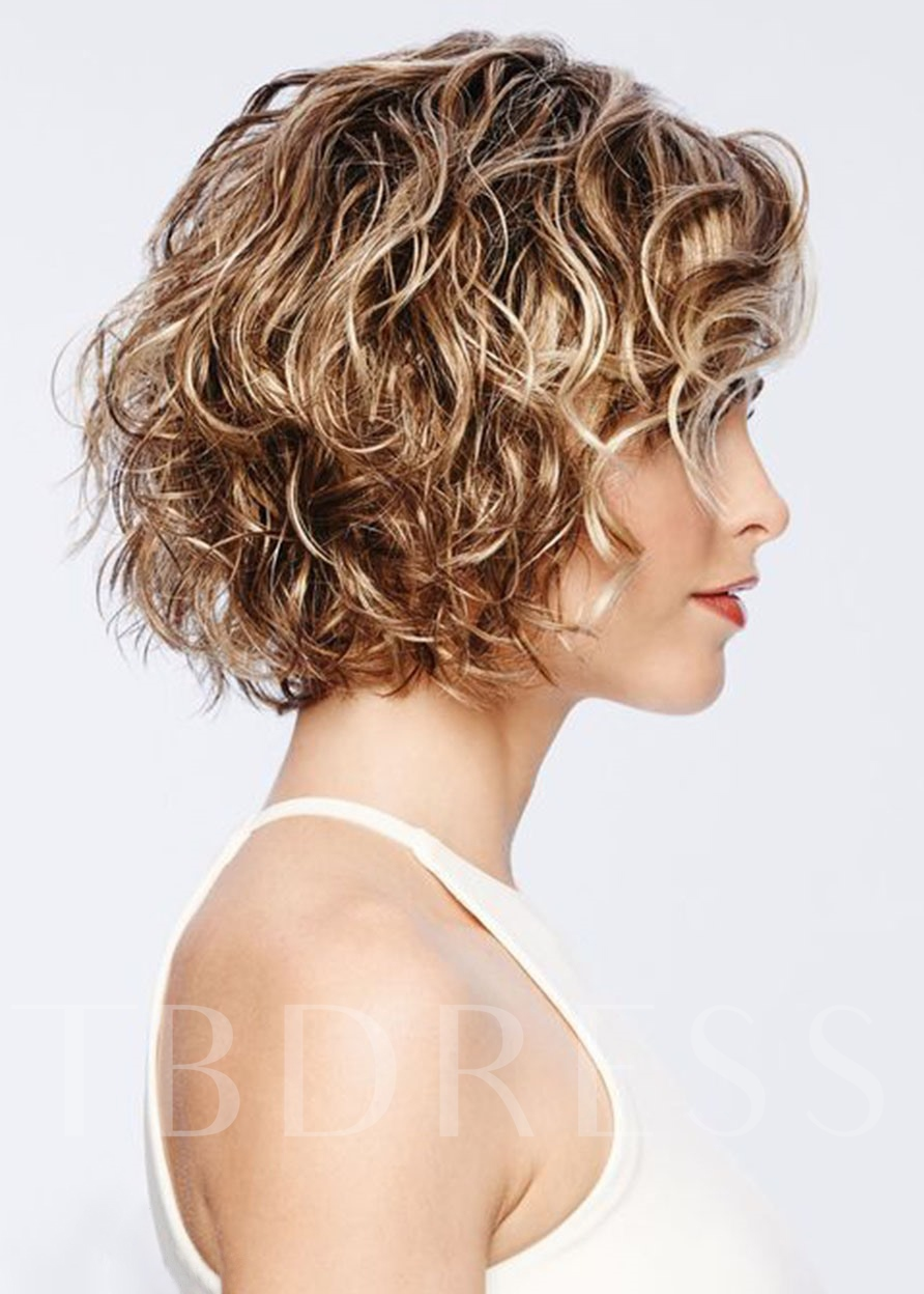 Short Curly Hairstyles Women's Blonde Color Lace Front Cap Wigs 100% Human Hair 14 Inches 120% Wigs