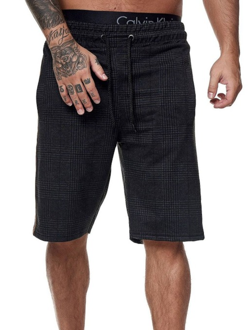 Straight Plaid Cargo Shorts Lace-Up Fall Men's Casual Pants