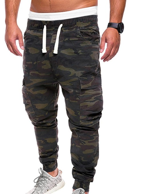 Print Straight Camouflage Lace-Up Men's Casual Cargo Pants