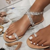 Buckle Flat With Thong Buckle Sandals
