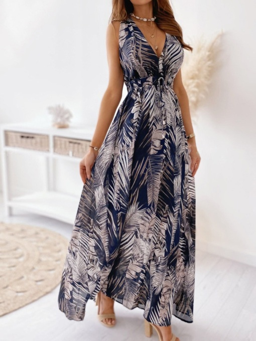 Floral Maxi Dress V-Neck Print Sleeveless Floor-Length Floral Women's Dress