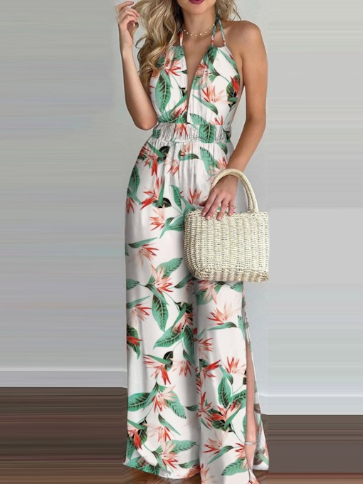 Fashion Print Plant Full Length Slim Women's Jumpsuit