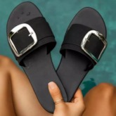 Flat With Button Toe Ring Slip-On Western Slippers