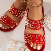 Slip-On Flat With Rivet Toe Ring Western Slippers