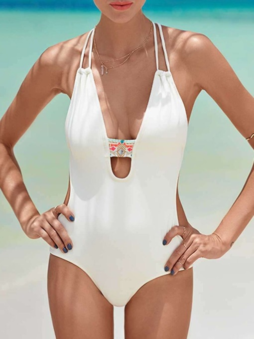 Plain Patchwork Sexy One Piece Women's Swimwear