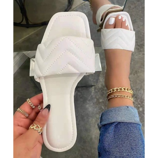 Thread Slip-On Flip Flop Flat With Summer Slippers