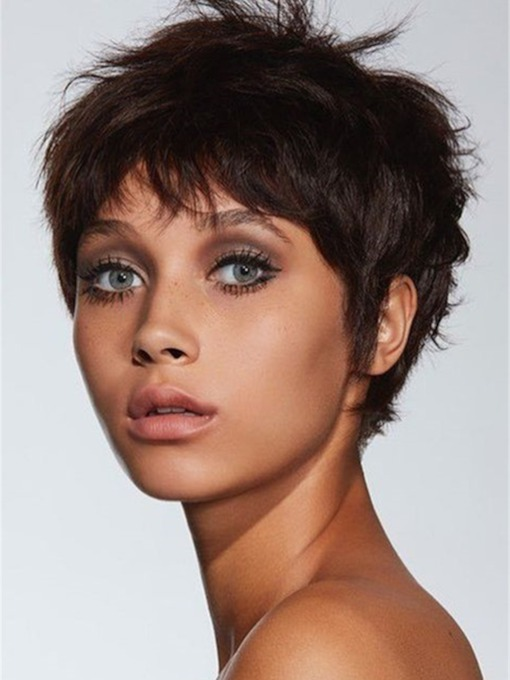Pixie Cuts Hairstyles Wavy Human Hair Lace Front Cap Women 120% 10 Inches Wigs
