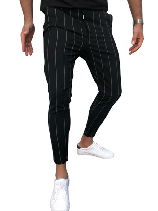 Patchwork Thin Stripe Fall Men's Casual Pants