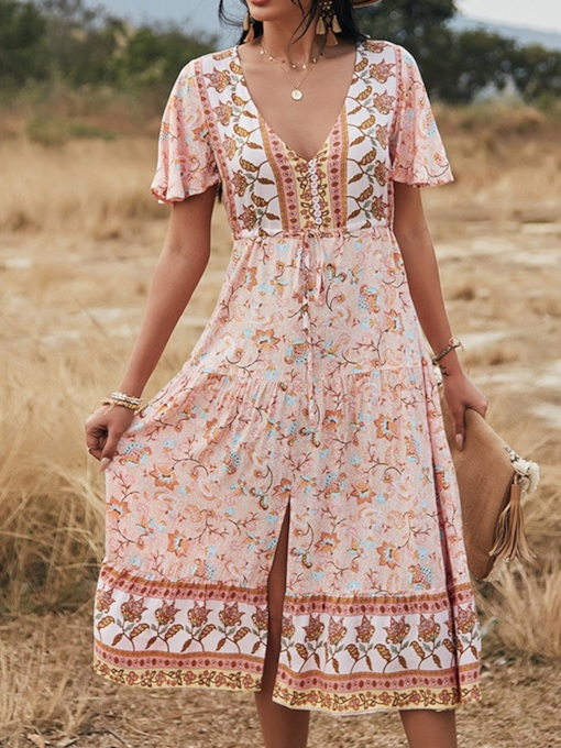 Print Mid-Calf Short Sleeve V-Neck Sweet Women's Dress