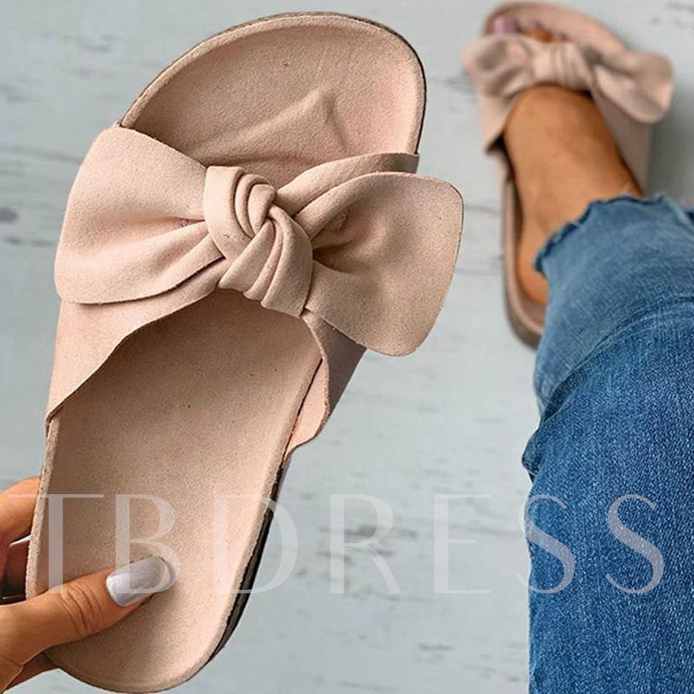 Slip-On Flip Flop Bow Flat With Plain Slippers
