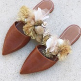 Beads Closed Toe Flat With Slip-On Summer Slippers