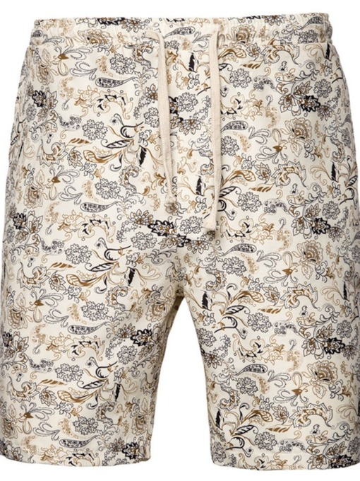 Print Floral Straight Lace-Up Men's Shorts