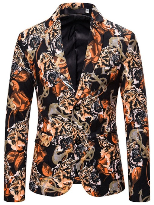 Print Color Block Casual Slim Men's Blazer