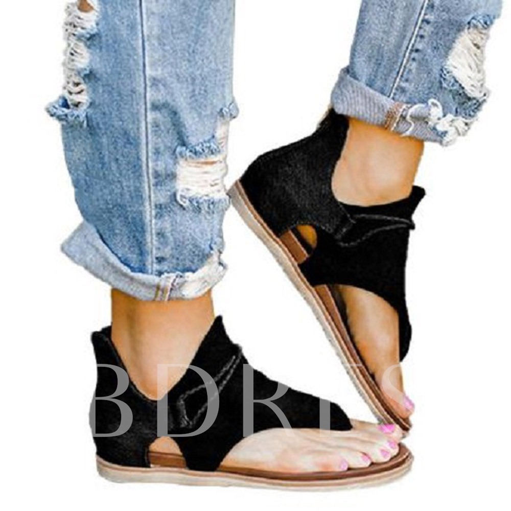 Thong Flat With Zipper Heel Covering Casual Sandals