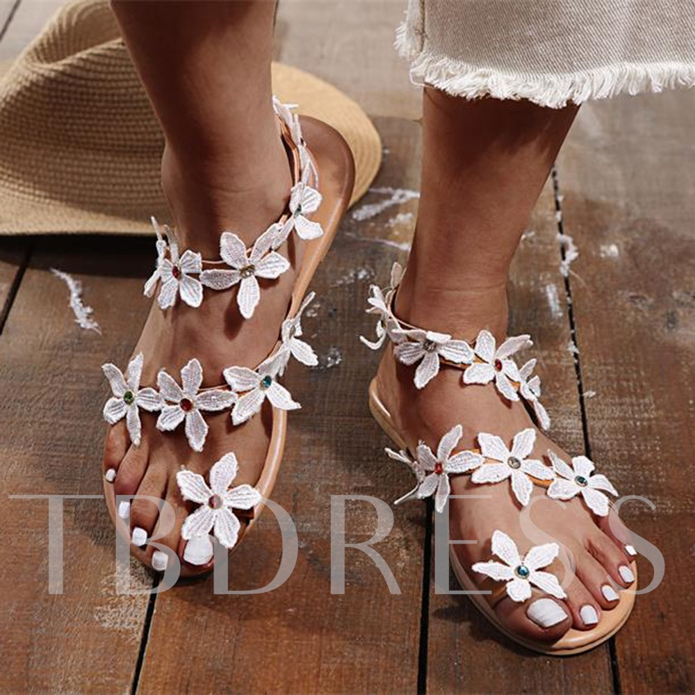 Flat With Thong Slip-On Western Sandals
