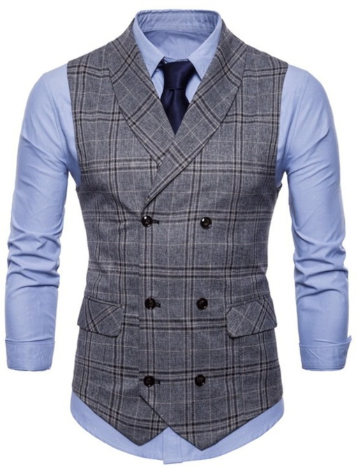 Fashion Plaid Formal Men's Waistcoat