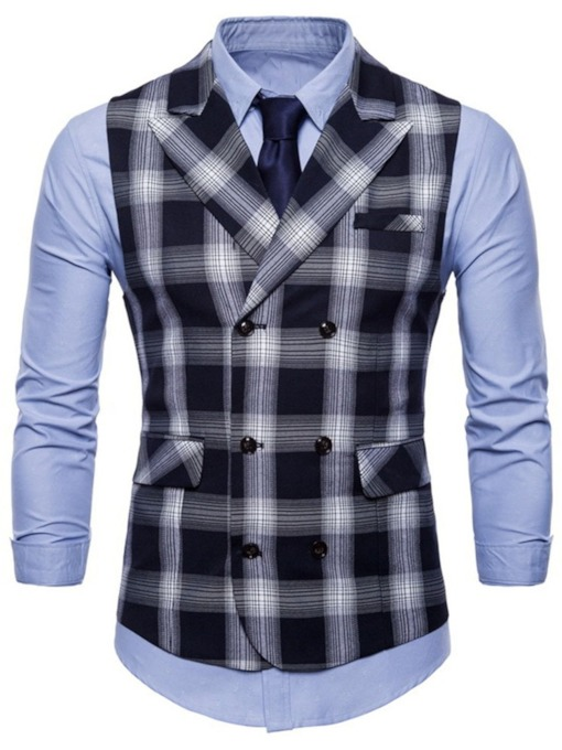 Plaid Formal Men's Waistcoat