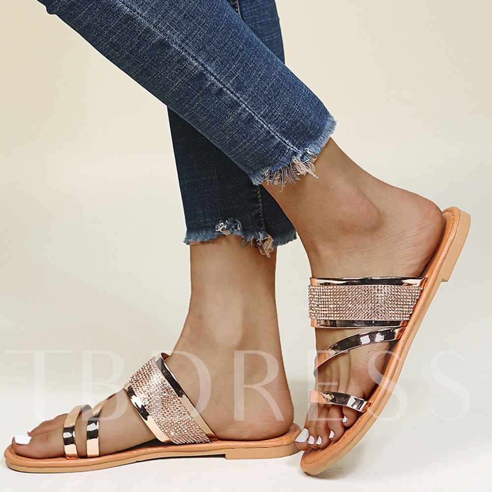 Toe Ring Flat With Rhinestone Slip-On Rubber Slippers