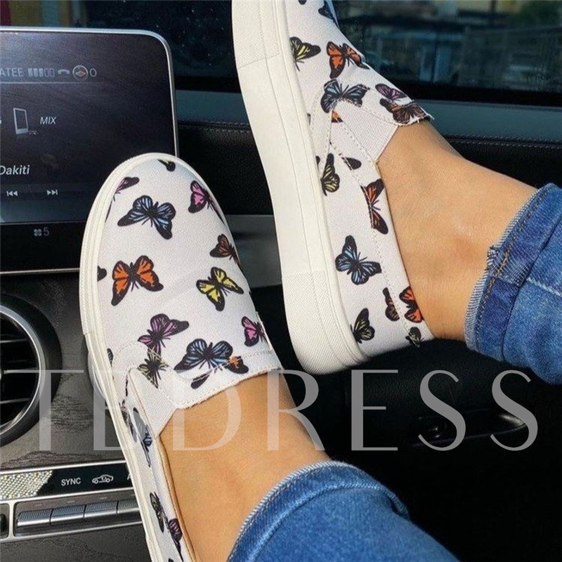 Round Toe Slip-On Flat With Thread Plain Thin Shoes