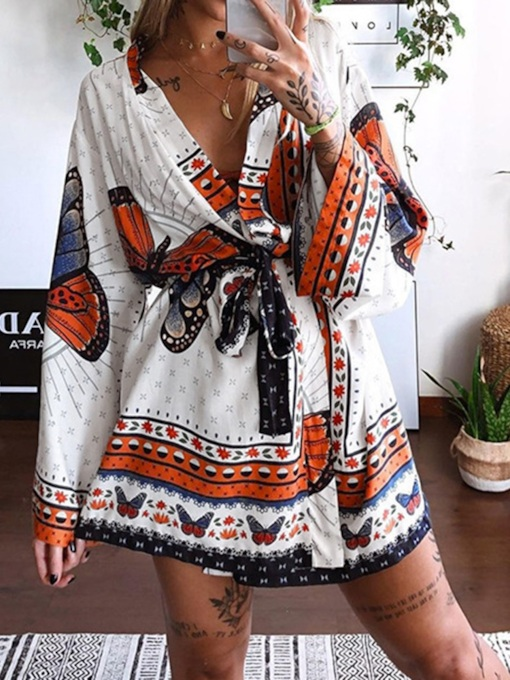 Lace-Up Long Sleeve Above Knee V-Neck Fashion Women's Dress