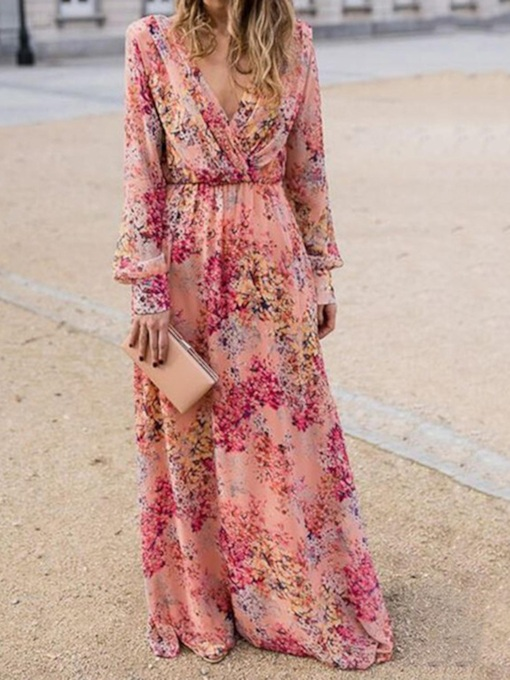 Floral Maxi Dress Sweet Print Floor-Length Long Sleeve V-Neck A-Line Women's Dress