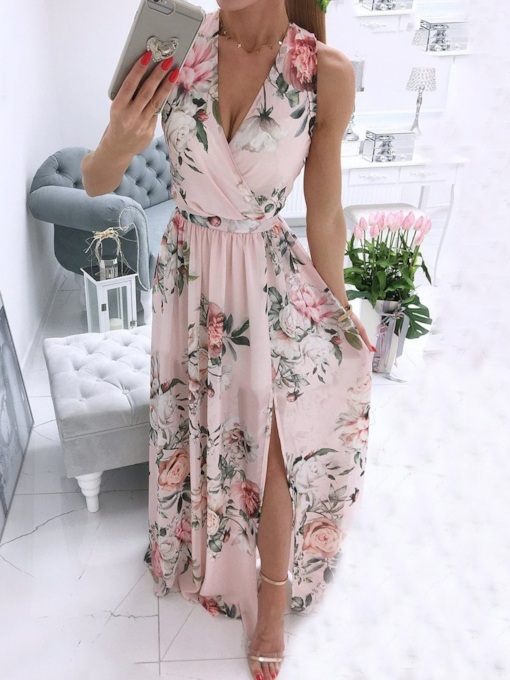 Split Floor-Length Sleeveless V-Neck Pullover Women's Dress