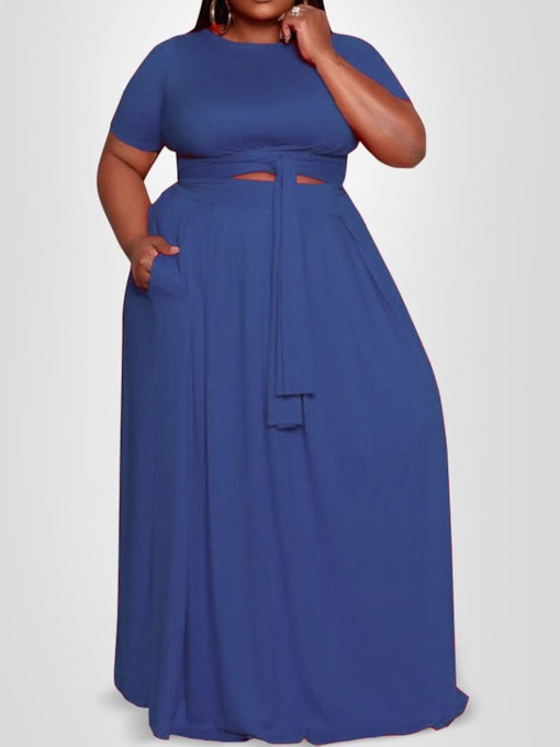 Plus Size Lace-Up Round Neck Floor-Length Short Sleeve Plain Women's Dress