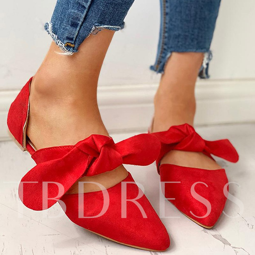 Bow Pointed Toe Slip-On Flat With Plain Thin Shoes