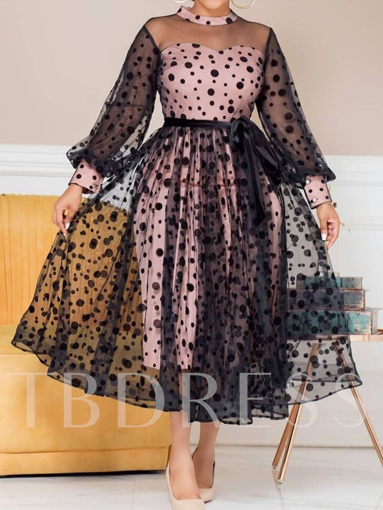 Plus Size Long Sleeve Mid-Calf Lace-Up Stand Collar Polka Dots Women's Dress