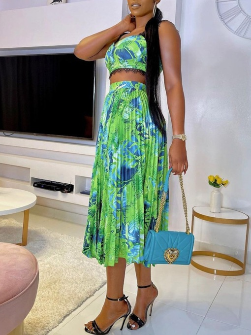 Skirt Print Travel Look Floral Pleated Women's Two Piece Sets