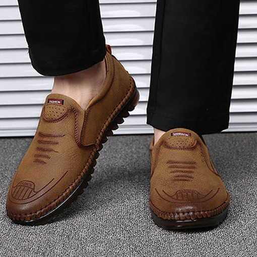Plain Low-Cut Upper Leather Leather Shoes
