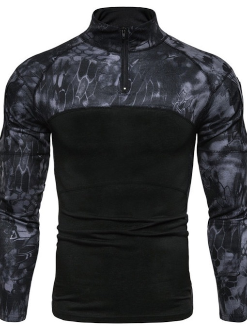 Casual Print Stand Collar Camouflage Long Sleeve Men's T-shirt