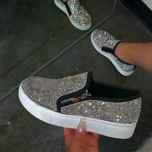Low-Cut Upper Round Toe Rhinestone Slip-On Casual Sneakers