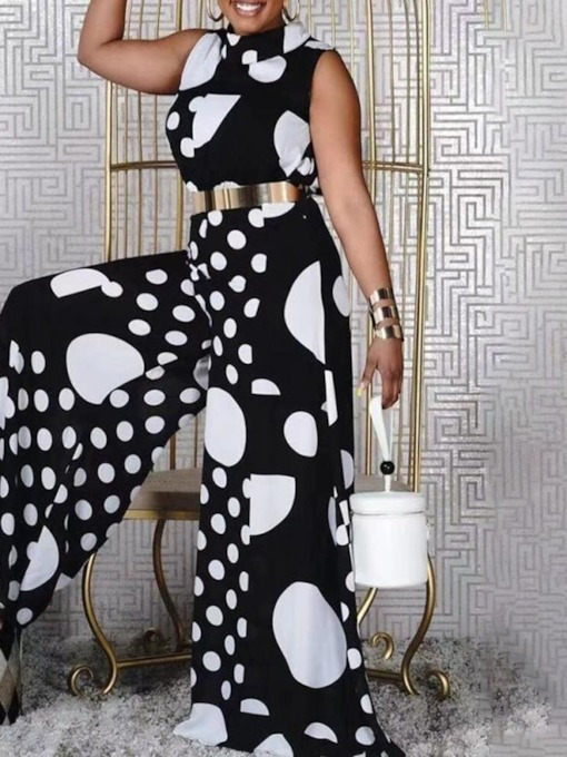 Full Length Polka Dots Patchwork Fashion Wide Legs Women's Jumpsuit