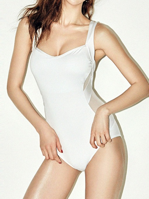 Micro-Elastic Plain One Piece Sexy Women's Swimwear