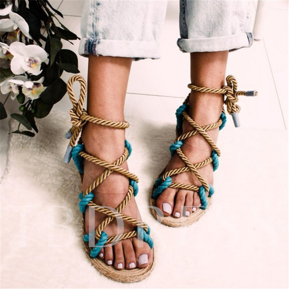 Flat With Lace-Up Round Toe Ankle Strap Cross Strap Sandals