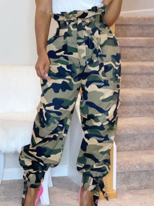 Camouflage Loose High Waist Women's Casual Pants