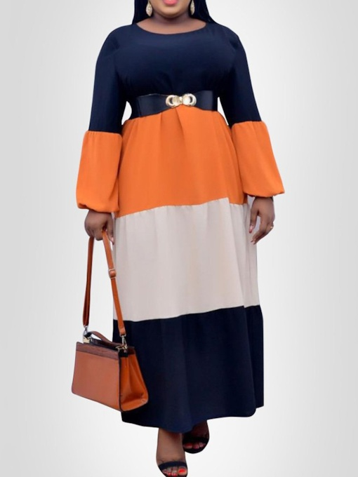 Plus Size Floor-Length Patchwork Long Sleeve Round Neck Summer Women's Dress