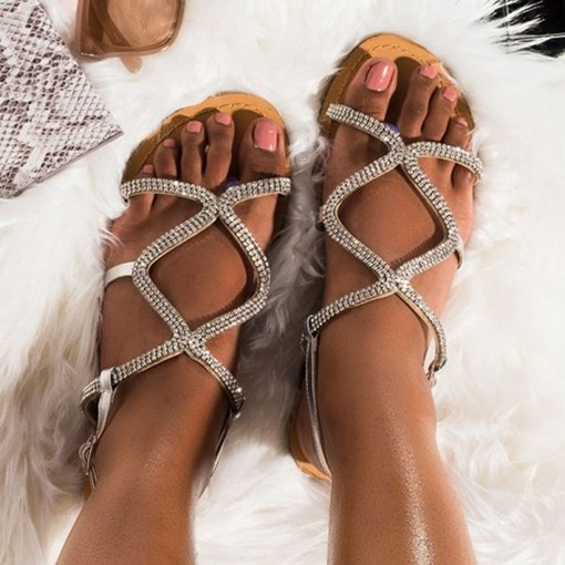 Buckle Flat With Open Toe Rhinestone Sandals